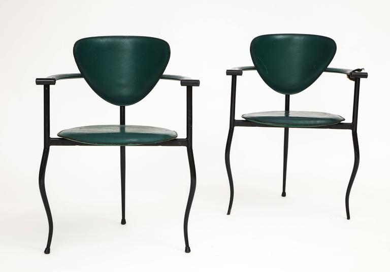 Postmodern Sculptural Green Leather and Iron Side Chairs, 1980s-1990s 3