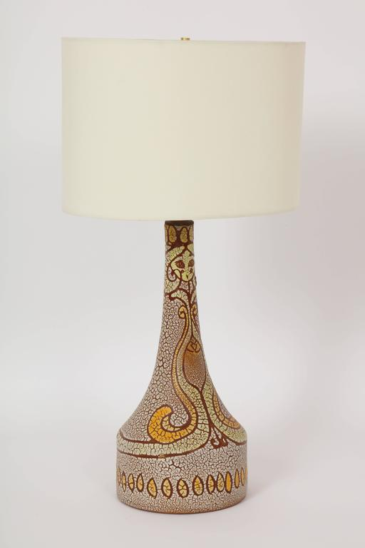Mid-Century Modern Midcentury Accolay Attributed Yellow, Orange, Brown Ceramic Lamp, France, 1950 For Sale