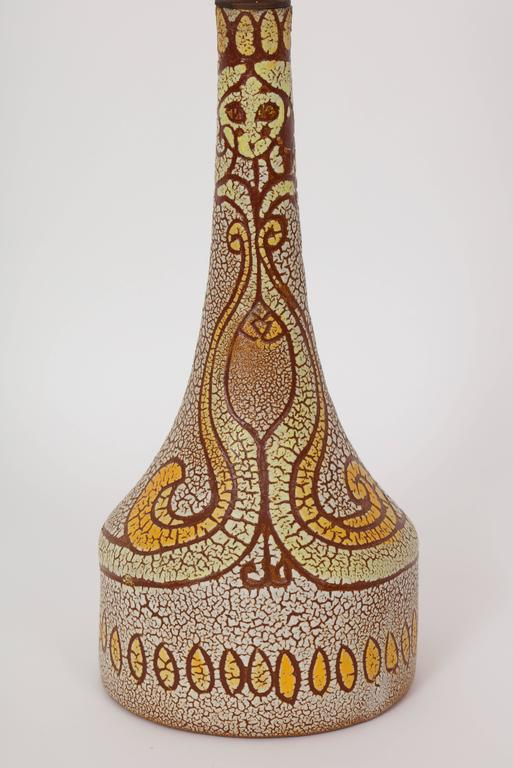 French Midcentury Accolay Attributed Yellow, Orange, Brown Ceramic Lamp, France, 1950 For Sale