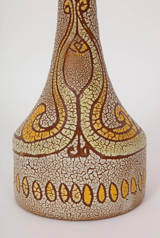 Midcentury Accolay Attributed Yellow, Orange, Brown Ceramic Lamp, France, 1950 In Good Condition For Sale In New York, NY