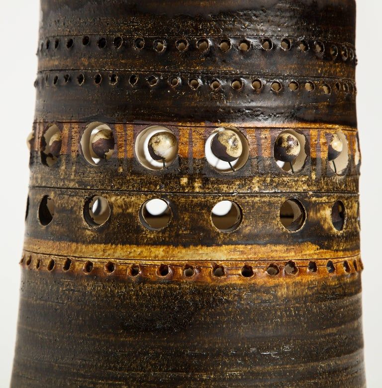 Monumental Georges Pelletier Ceramic Lamp with Pearl Detailing, 1970s, France For Sale 1