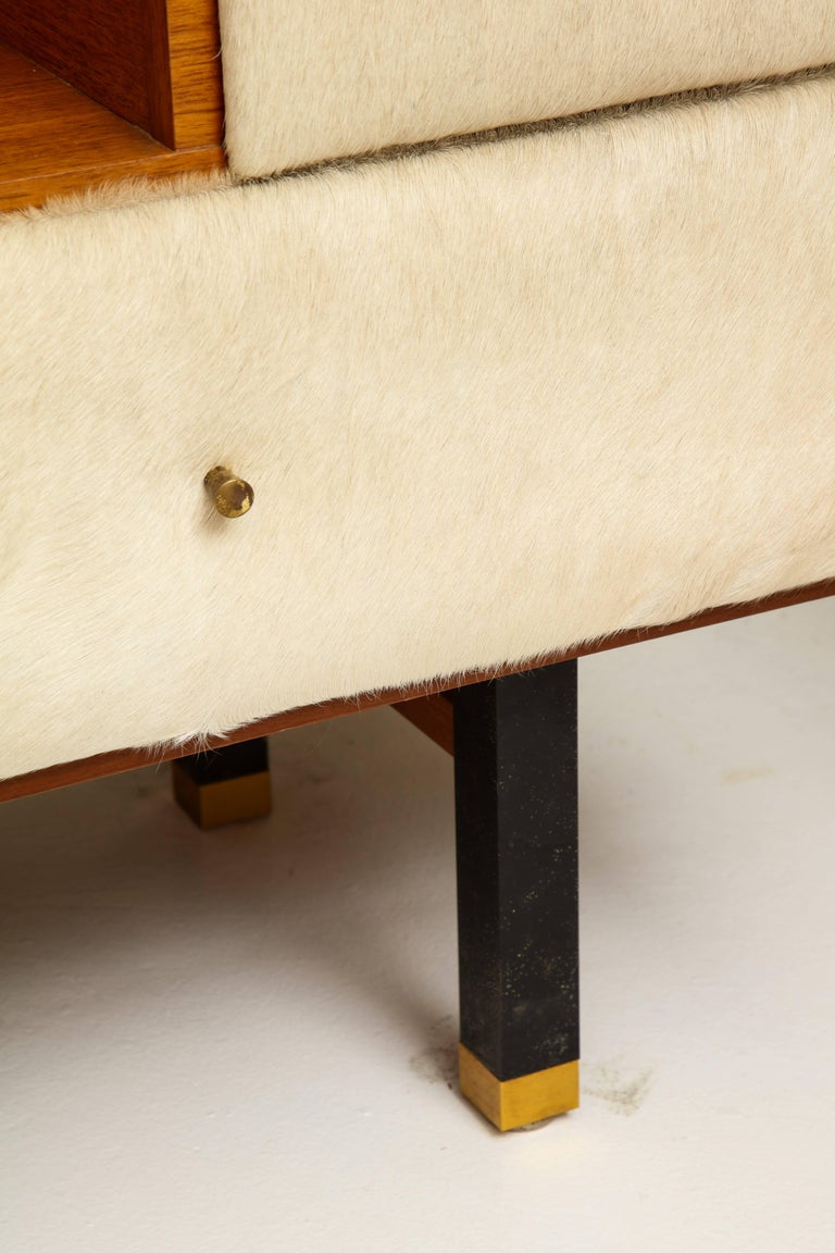 Mid-20th Century Roger Landault Creme Cowhide Vanity, France, Mid-Century 1950 For Sale
