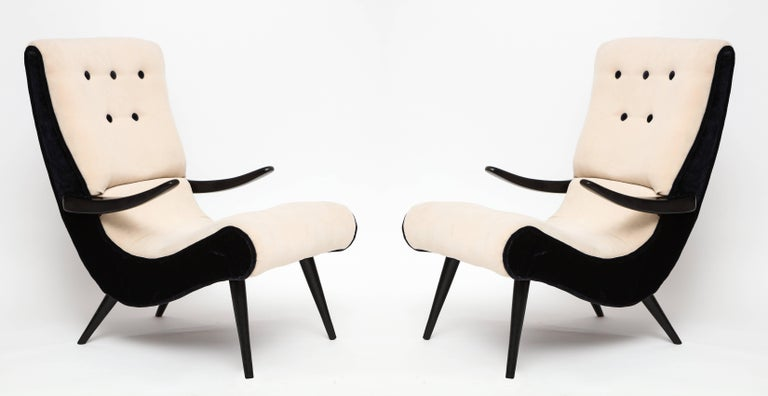 Pair of Sculptural Lounge Chairs with Black White Mohair Fabric, 1950s 2