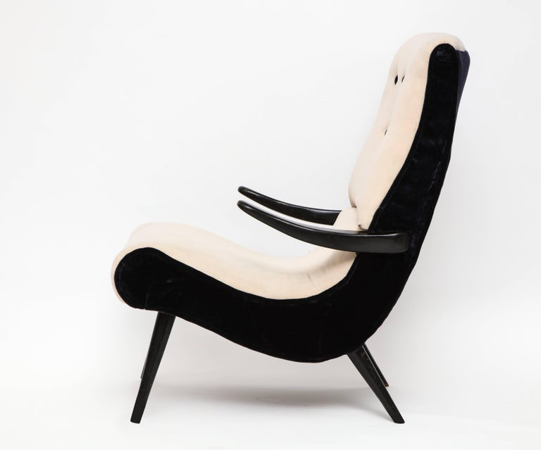 Pair of Sculptural Lounge Chairs with Black White Mohair Fabric, 1950s 3