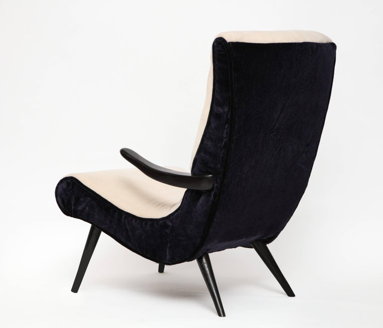 Pair of Sculptural Lounge Chairs with Black White Mohair Fabric, 1950s 4