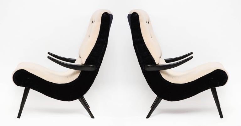 Pair of Sculptural Lounge Chairs with Black White Mohair Fabric, 1950s 6