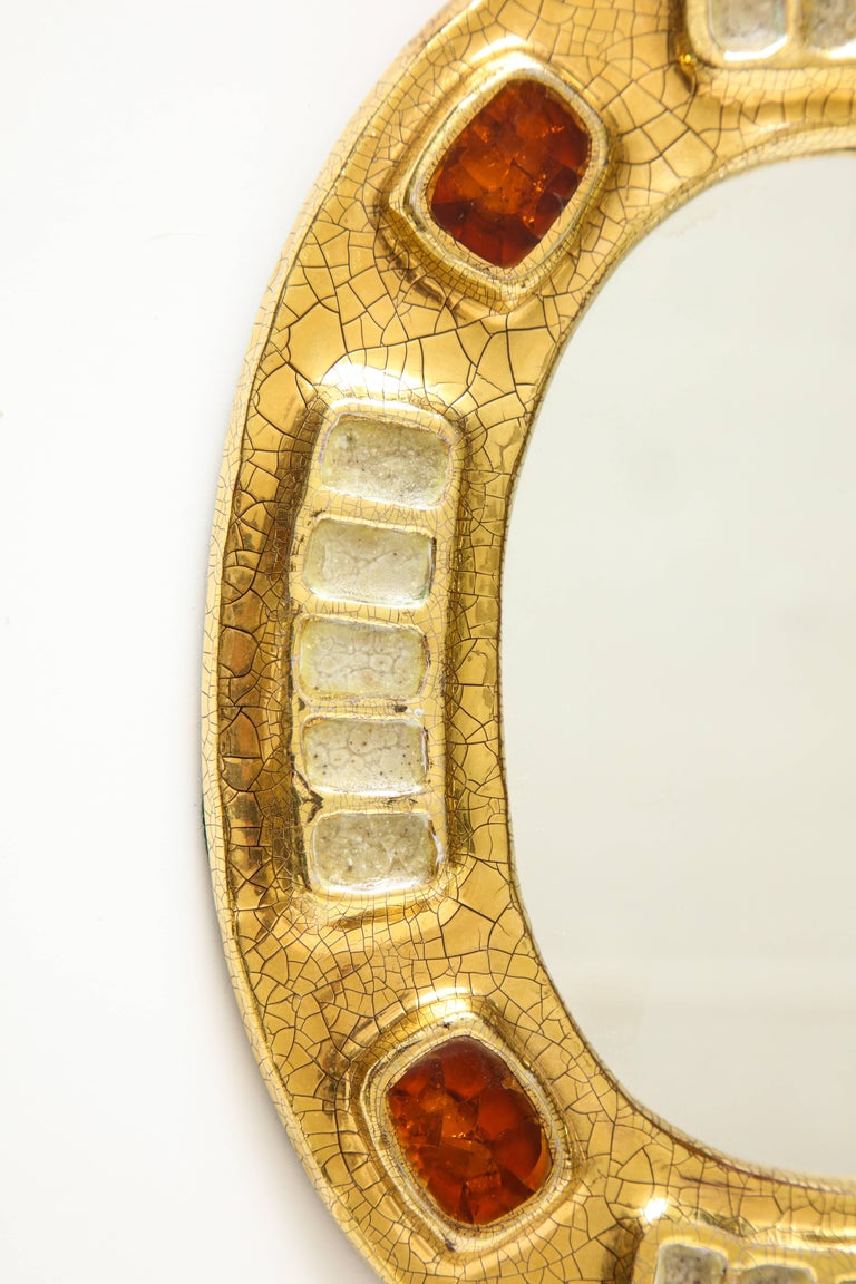 French Lembo Ceramic Jewel Mirror with Gold and Dark Red Enamel, France, 1970s For Sale