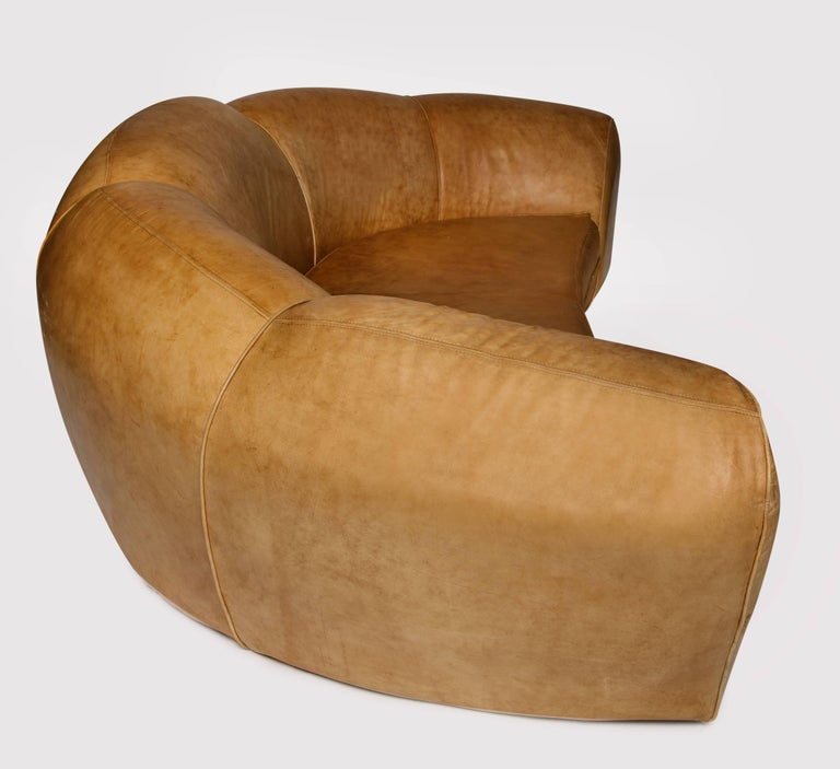 Post-Modern Jean Royere Style Polar Bear Monumental Cresent Brown Leather Sofa, France For Sale
