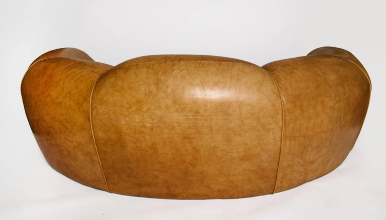 French Jean Royere Style Polar Bear Monumental Cresent Brown Leather Sofa, France For Sale