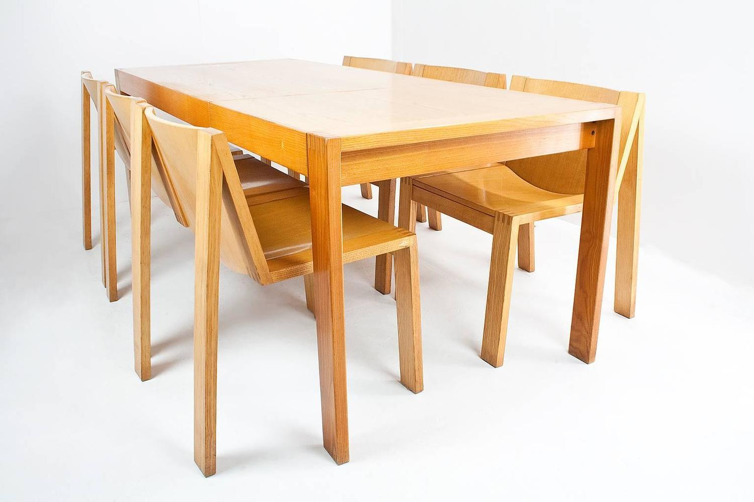 1976 dutch pastoe ash wood dining room set by mazairac and