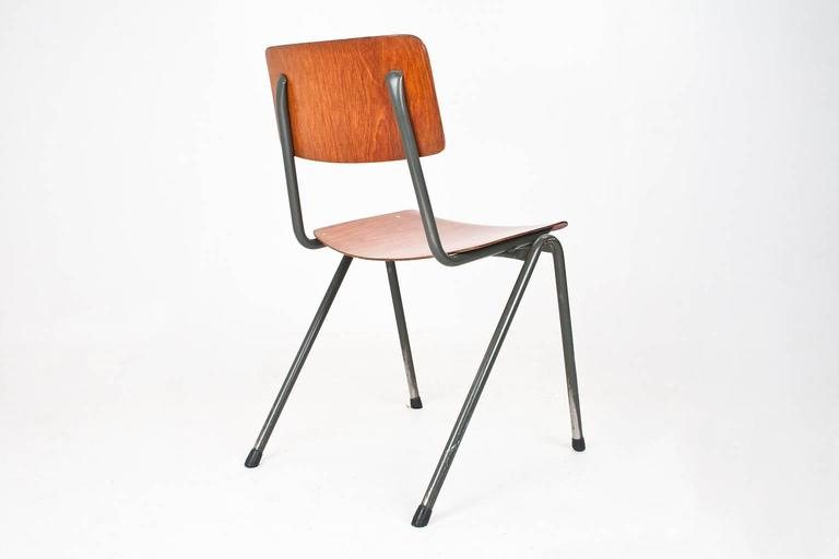 dutch industrial school chairs 1970 laminated wood and grey metal frame