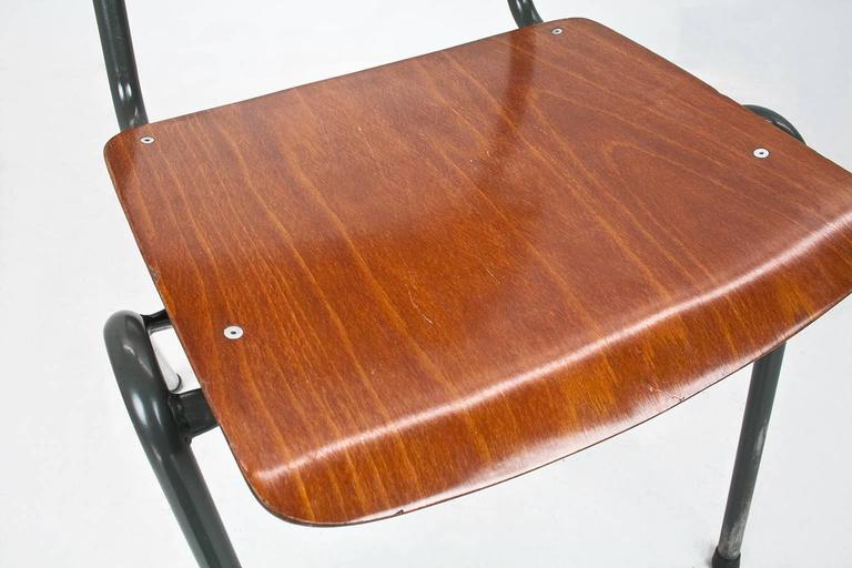 Dutch industrial school chairs 1970 laminated wood and for Laminated wood for sale