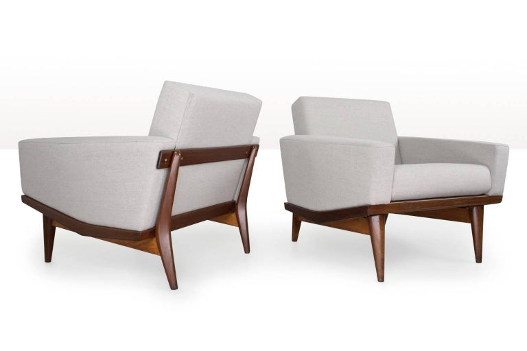 Oiled Scandinavian Modern Pair of Lounge Chairs by Illum Wikkelso, 1962 Danish Design For Sale