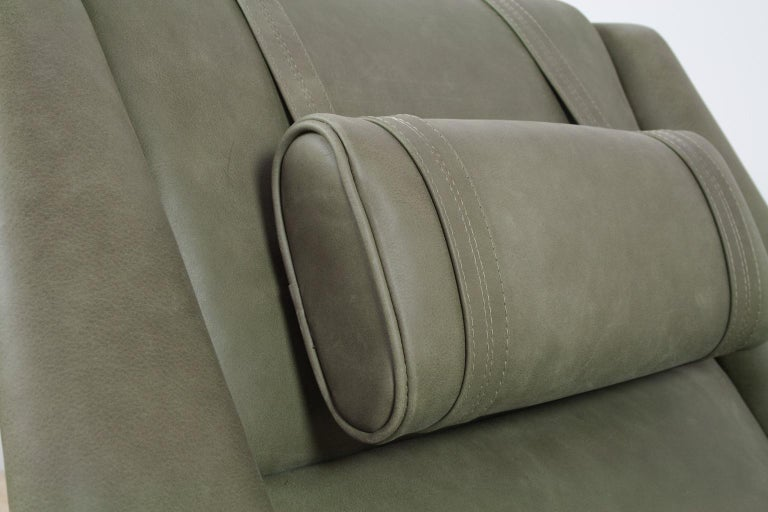 Scandinavian Modern Re-Upholstered Green Leather Lounge Chair by Folke Ohlson For Sale 3