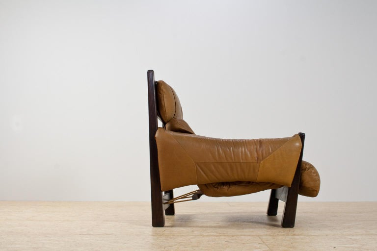 Mid-Century Modern Brazilian Modern Brown Leather Lounge Chair in Manner of Percival Lafer, 1960s For Sale
