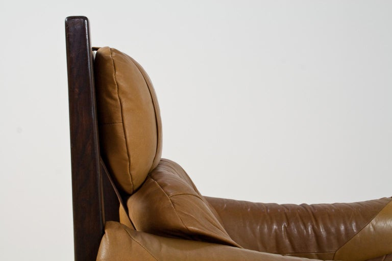 Mid-20th Century Brazilian Modern Brown Leather Lounge Chair in Manner of Percival Lafer, 1960s For Sale
