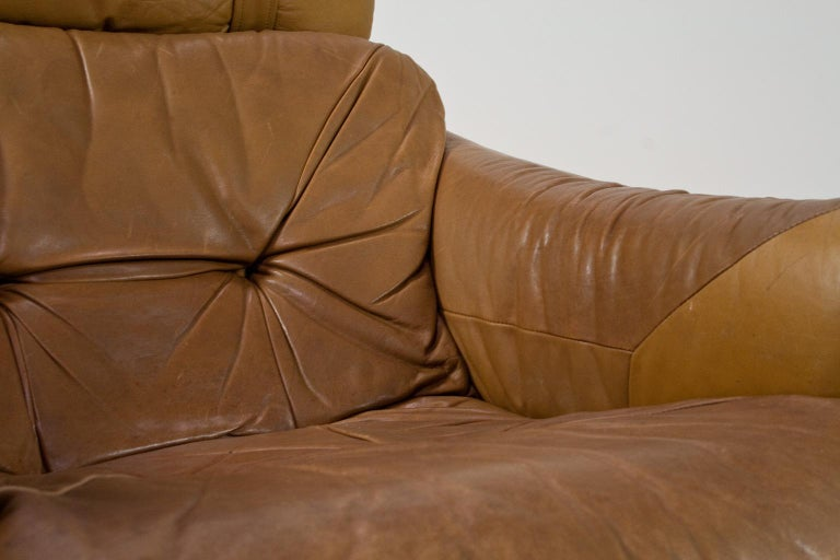 Brazilian Modern Brown Leather Lounge Chair in Manner of Percival Lafer, 1960s For Sale 3