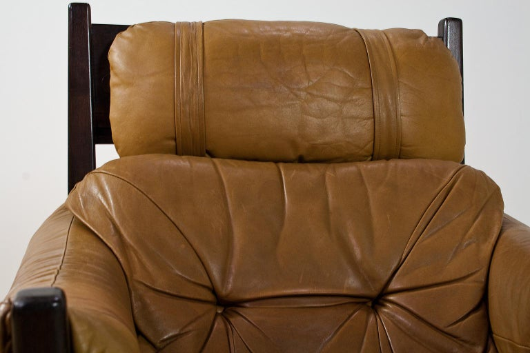 Brazilian Modern Brown Leather Lounge Chair in Manner of Percival Lafer, 1960s For Sale 4
