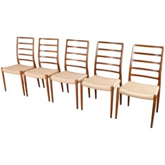 Scandinavian Modern Chairs in teak and papercord by Niels Moller, 1954 set of 5