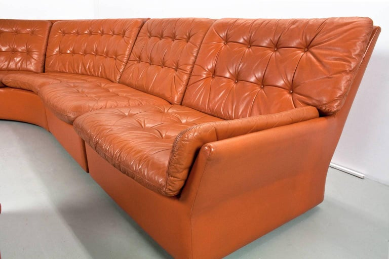 Leather Curved Sectional Sofa Mid Century Modern 1970s Dutch Design In Good Condition For