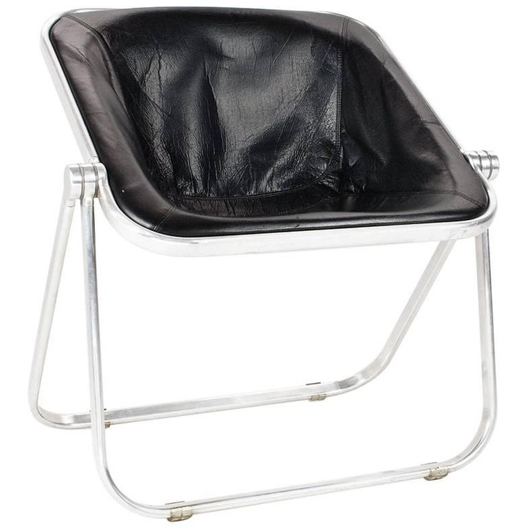 Leather Plona Folding Chair by Giancarlo Piretti for Anonima Castelli, 1969