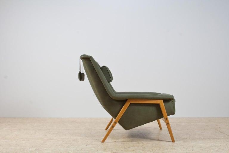 Danish Scandinavian Modern Re-Upholstered Green Leather Lounge Chair by Folke Ohlson For Sale