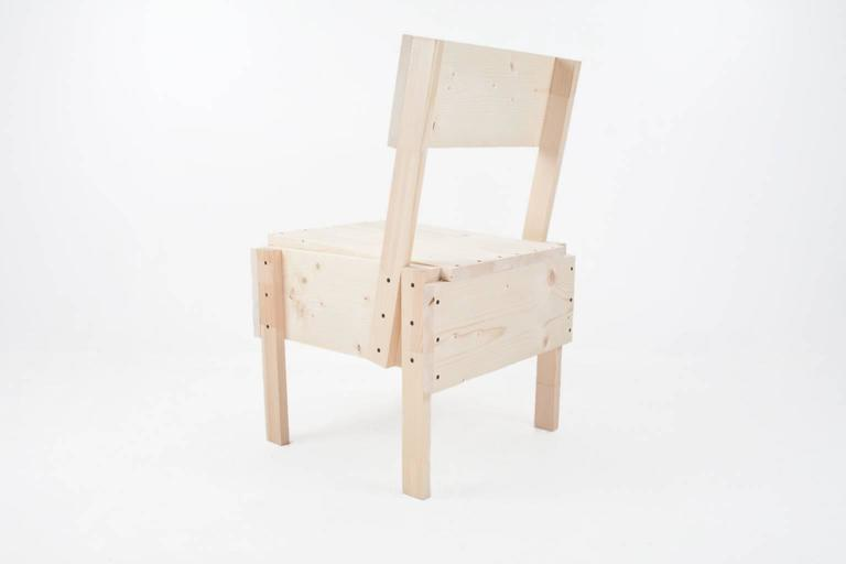 Handcrafted set of four pinewood chairs in enzo mari for Sedia 1 enzo mari