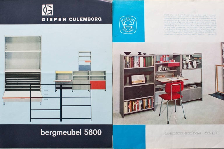 Metal Industrial Gispen 5600 Modular Cabinet, 1959 Holland, by Andre Cordemeyer For Sale 4