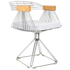 1960s, Belgium, Midcentury Wired Desk Swivel Chair by Rudi Verelst