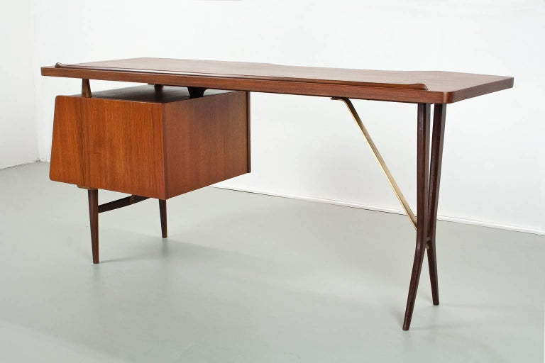 Mid-19th Century Mid-Century Modern Dutch Writing Desk in Teak by Louis Van Teeffelen, 1950s For Sale