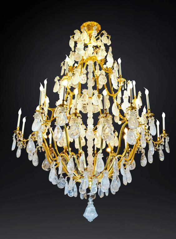 Just the biggest pair of rock crystal chandeliers in the world.  Dimensions: Just the chandelier: 106 inches high(+ the canopy 12 inches high which make finally a minimum total high of 118 inches and with some chain could be easily 160 -200 inches