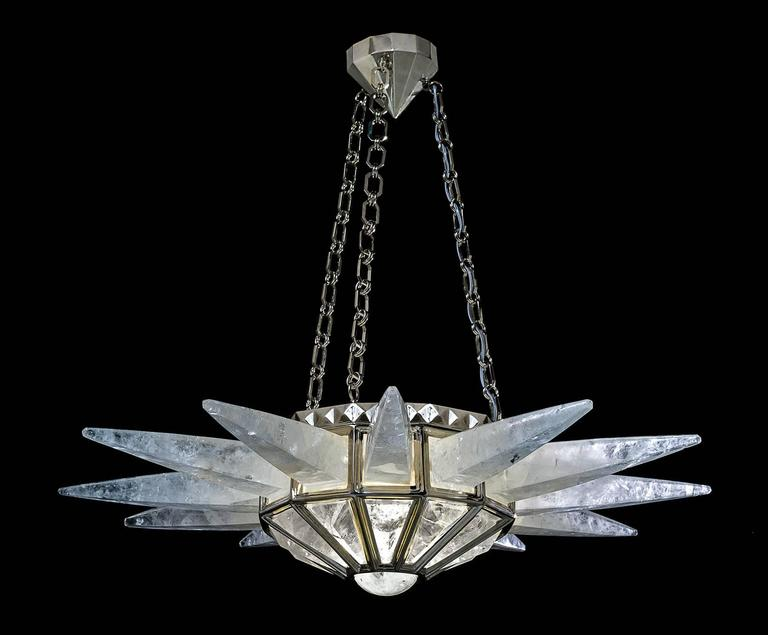 Rock crystal  quartz sunshine light, silver edition. Original model design by Alexandre Vossion and made since 2014. The fixture, chains and canopy of this rock crystal chandelier are handmade in bronze in PARIS. Workers who made this model worked