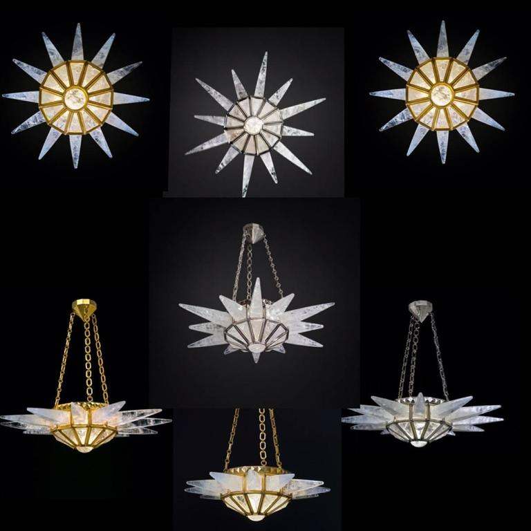 Carved Rock Crystal Sunshine Chandelier by Alexandre Vossion For Sale