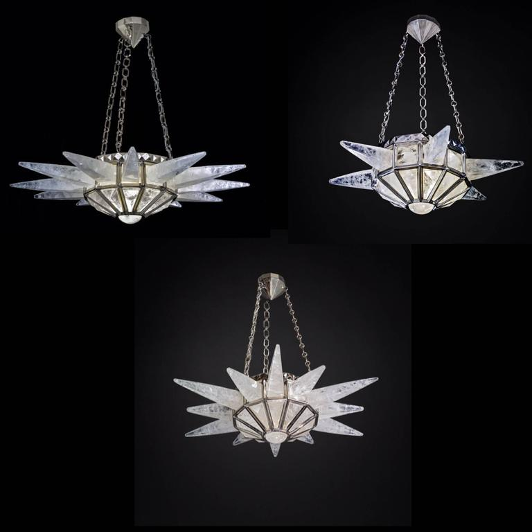Rock Crystal Sunshine Chandelier by Alexandre Vossion In Excellent Condition For Sale In SAINT-OUEN, FR
