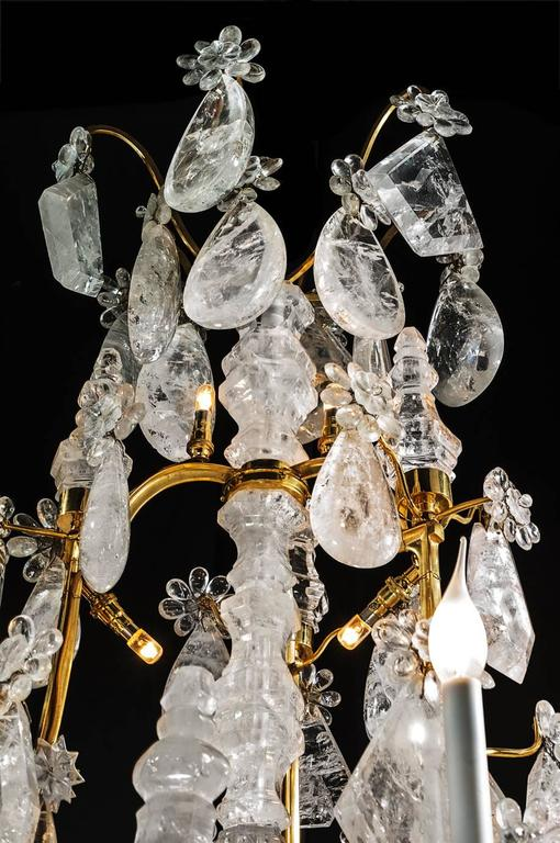 Louis XV Rock Crystal and Gilt Bronze Chandelier For Sale