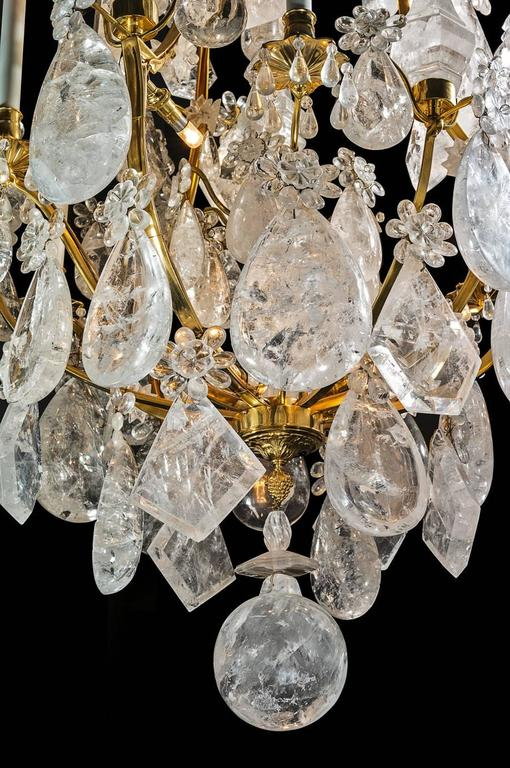 Contemporary Rock Crystal and Gilt Bronze Chandelier For Sale