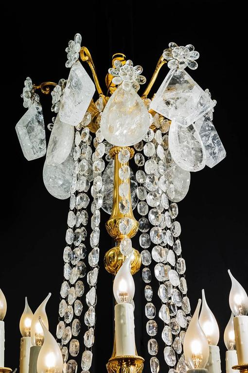 French Rock Crystal and Gilt Bronze Chandelier For Sale