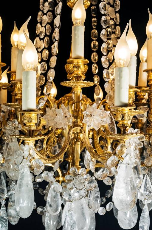 Rock Crystal and Gilt Bronze Chandelier In Excellent Condition For Sale In SAINT-OUEN, FR