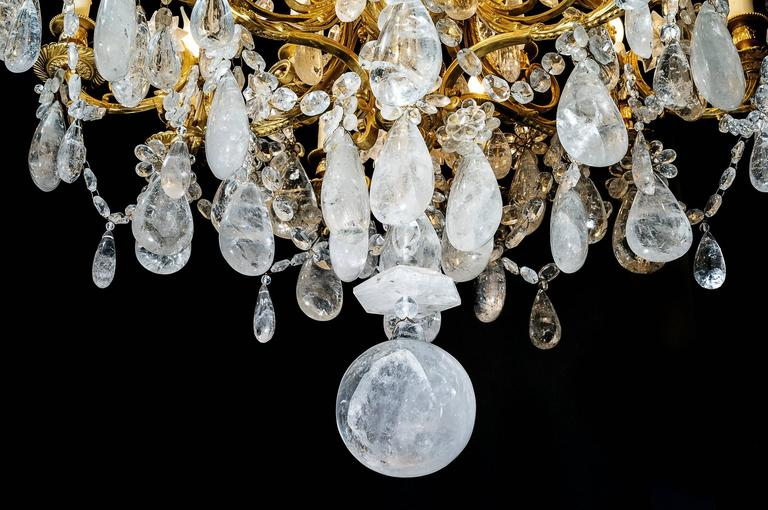 Rock Crystal and Gilt Bronze Chandelier For Sale 1