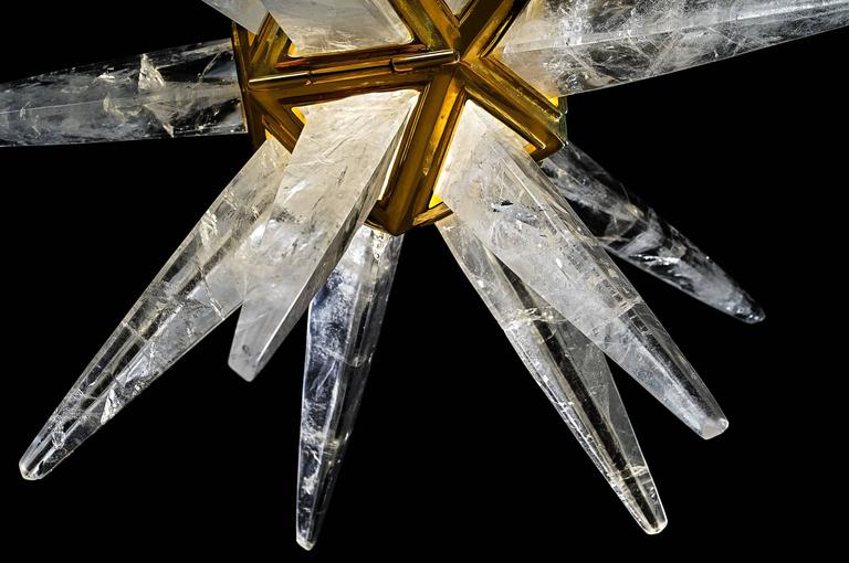 Art Deco Rock Crystal Star III Chandelier by Alexandre Vossion For Sale