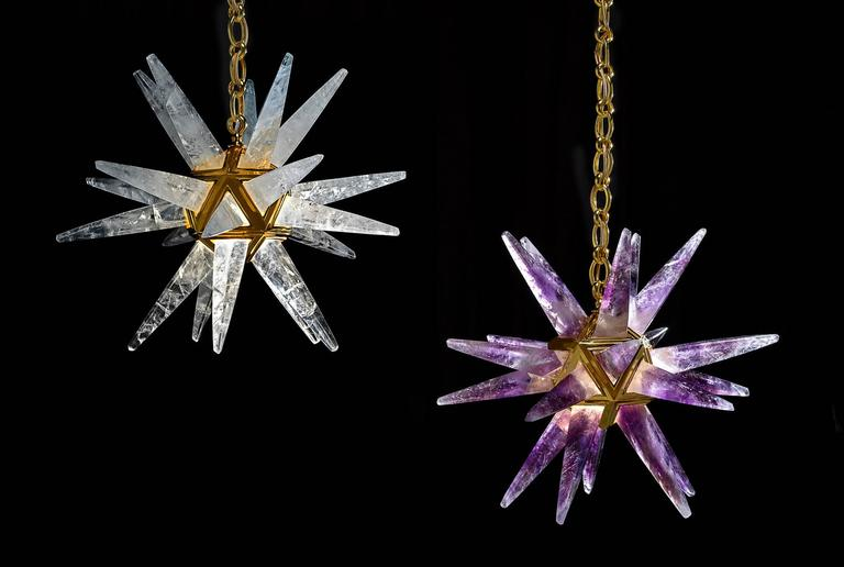 Contemporary Rock Crystal Star III Chandelier by Alexandre Vossion For Sale