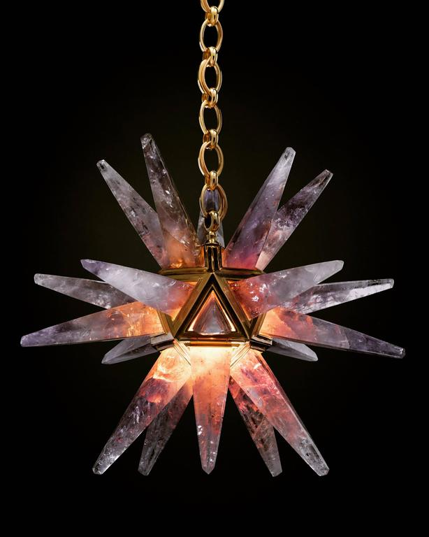 Rock Crystal Star III Chandelier by Alexandre Vossion For Sale 1