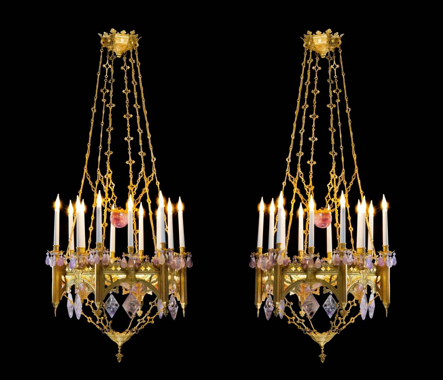 pair of neo gothic style chandeliers in amethyst and