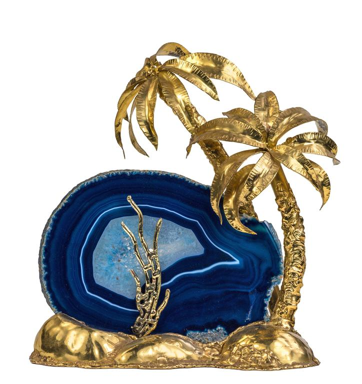 Exotic Brass And Agate Palm Tree Lamp For Sale At 1stdibs