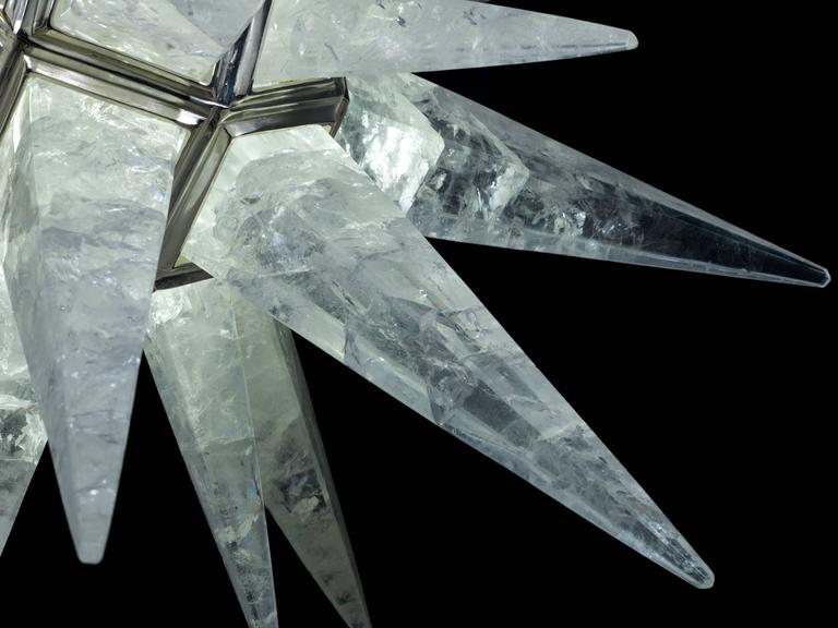 French Rock Crystal Star Chandelier by Alexandre Vossion For Sale