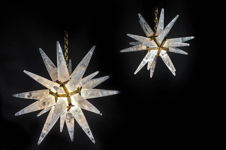 Art Deco Rock Crystal Stars Chandeliers by Alexandre Vossion For Sale