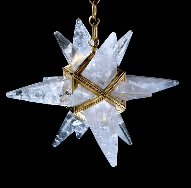 Rock Crystal Stars Chandeliers by Alexandre Vossion In New Condition For Sale In SAINT-OUEN, FR