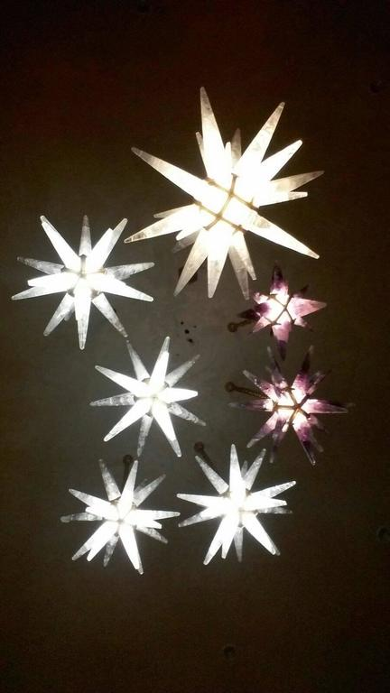 Bronze Rock Crystal Stars Chandeliers by Alexandre Vossion For Sale