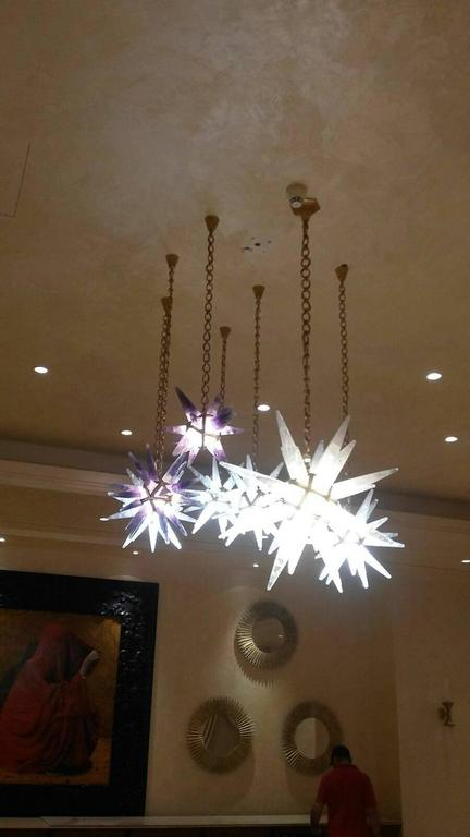 Rock Crystal Stars Chandeliers by Alexandre Vossion For Sale 1