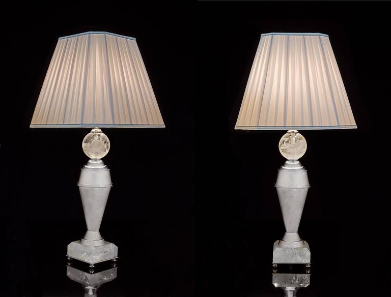 Rock Crystal Art Deco Pair of Lamps by Alexandre Vossion 2